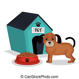 cute dog with house mascot icon