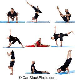 Set collection of sporty man doing yoga on white - Set...