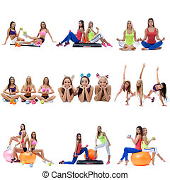 Set collection of sporty women exerxicing on white - Set...