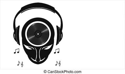 DJ Musical Mind with Headphones and Dancing Music Notes....