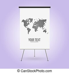 White Board, business presentation. Empty space for your text or advertising object. Isolated vector illustration, web elements.
