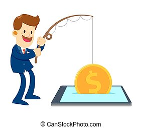 Businessman Fishing Gold Coin From a Mobile Phone - Vector...