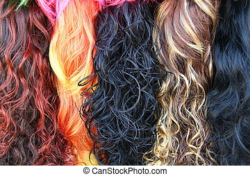 stacks of colored hair - Background texture with stacks of...