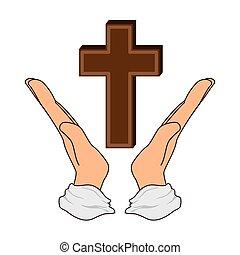 シンボル, 宗教, 交差点, アイコン