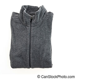 Black fleece jacket isolated on white background