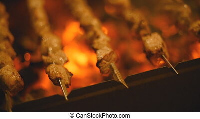 Roasting shish kebabs on the grill. Focus and move the...
