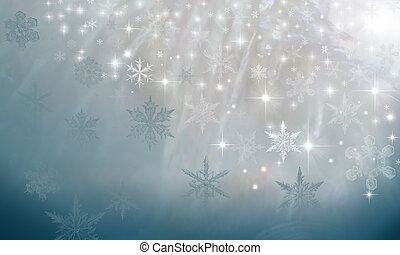 Pearl sparkly background with snowflakes on blue - Abstract...