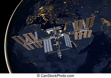 International Space Station over Europe. Elements of this...
