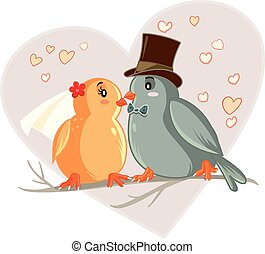 Love Birds Cartoon Vector Illustrartion - Vector drawing of...