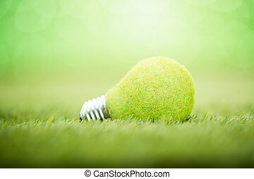 Light Bulb Placed On Grass
