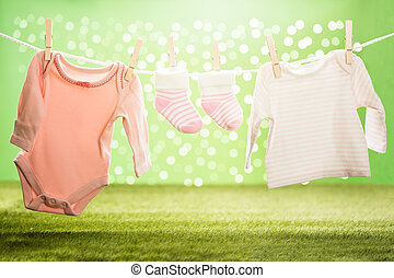 Baby Cloths Hanging On Rope
