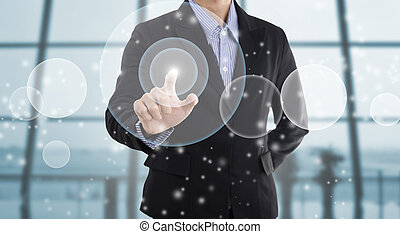 Businessman pointing on virtual screen, concept modern...
