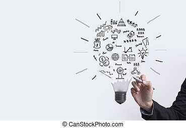 business graph with light bulb concept for idea, innovation and inspiration for business