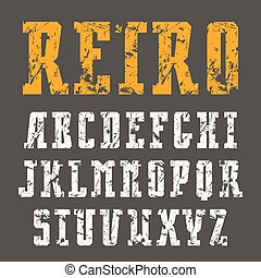 Narrow slab serif font in retro style with shabby texture....