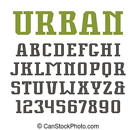Slab serif font in urban style. Isolated on white background