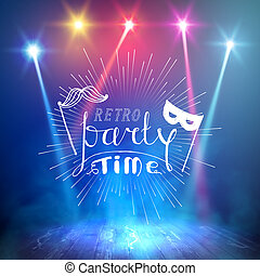 Show background. Retro Party Time Brush Script Style Hand...