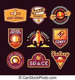 Vintage space and astronaut badges or labels set.