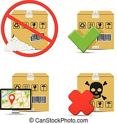 Cardboard boxes icons design - Shipment icons. Cardboard...