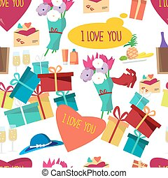 Seamless pattern of valentines Day things. Vector flat cartoon background