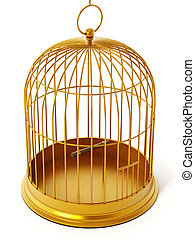 Gold bird cage isolated on white background. 3D illustration