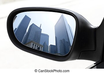 rearview car driving mirror view city downtown - rearview...