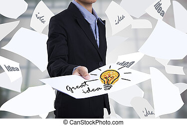 Business hand holding paper light bulb concept for great idea, innovation and inspiration for business
