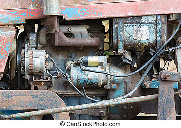 Vintage engine car system. Part of old diesel engine of heavy truck.