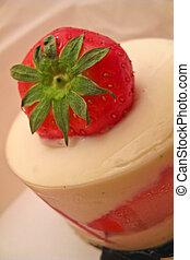 Strawberry cake - Closeup strawberry cake