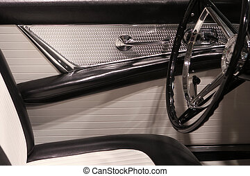 thunderbird - chrome,white and black drivers side interior...