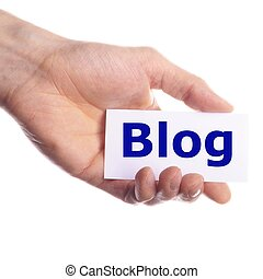 blog - rss internet or web blog concept with hand holding...