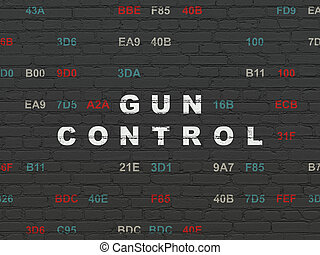 Security concept: Gun Control on wall background - Security...