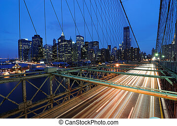Brooklyn Bridge Traffic - The view of the Financial District...