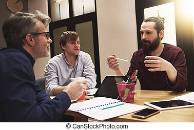 Talking men about business project
