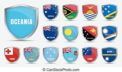 sheets with the flags of the countries of the Oceania.