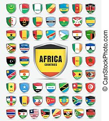 Set of sheets with the flags of the countries of the African continent.