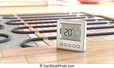 Heating concept. Underfloor heating. Layers of heating floor...