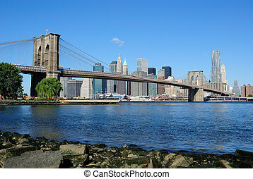 Brooklyn, ponte, Manhattan, orizzonte