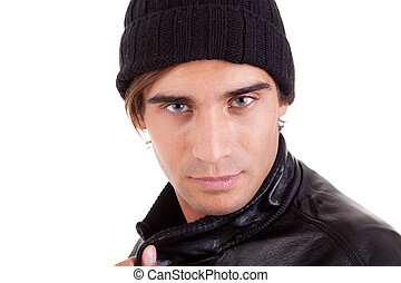handsome man with a hood; isolated on white background. studio shot