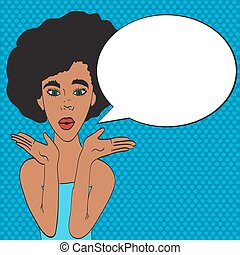 Pop art young woman's face with an open mouth and big bulging eyes. black woman surprised retro woman in comic style.