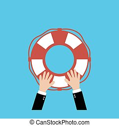Helping Business to survive. Drowning businessman lifebuoy from another