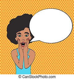 Pop art young woman's face with an open mouth and big bulging eyes. black woman surprised retro woman in comic style. Vector illustration.