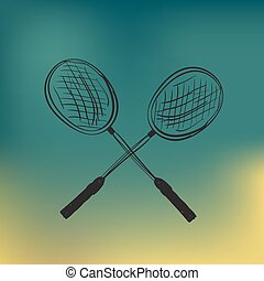 vector, two tenis rackets and ball, sketch