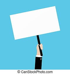 Hand holding placard with empty space for text, business man...