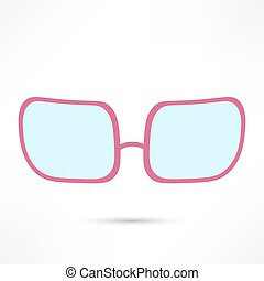 rose-colored glasses for eyes on white background