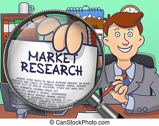 Market Research through Magnifying Glass. Doodle Concept.