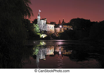 Castle at Night - Belvedere Castle in Central Park in New...