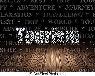 Tourism concept: Tourism in grunge dark room