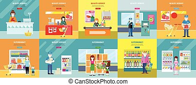 Set of Quality Service and Supermarket Web Banners. - Set of...