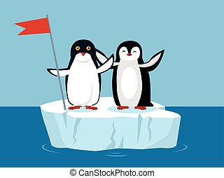 Funny Emperor Penguins on Arctic Glacier with Flag - Funny...