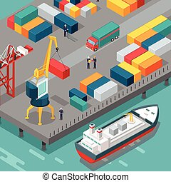 Container Terminal. Platform Supply Vessel. Vector - Port...